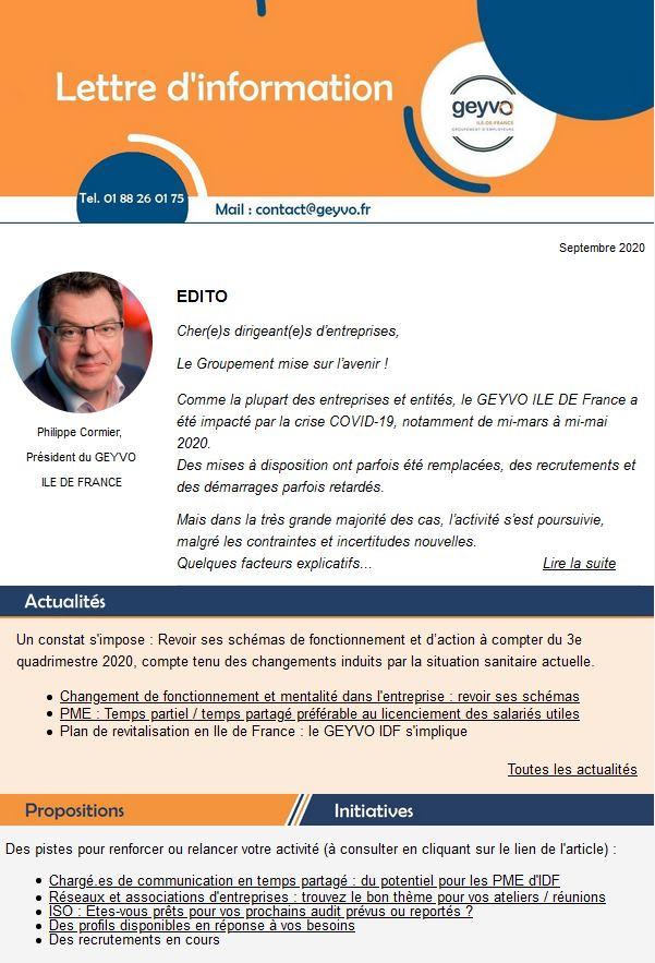 Lettre d'actus GEYVO Ile de France, Septembre 2020