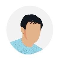 Pictogramme - portrait homme brun cheveux courts - tee shirt bleu
