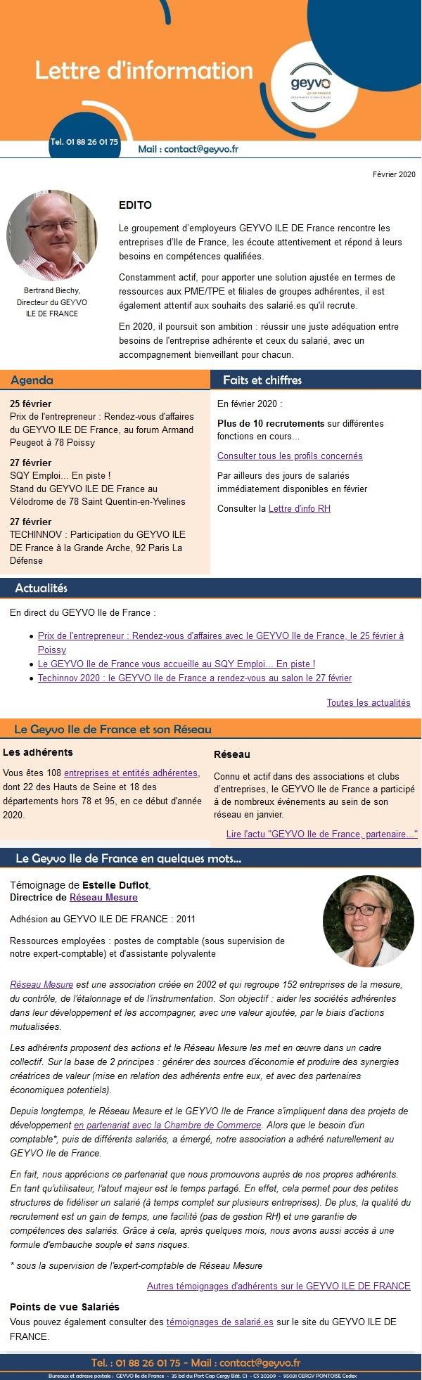 """Lettre d'information""""Actualités GEYVO IDF"""" Fevrier 2020"""