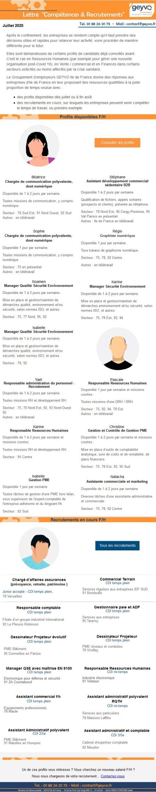 Lettre Compétences & Recrutements du GEYVO Ile de France - Juillet 2020