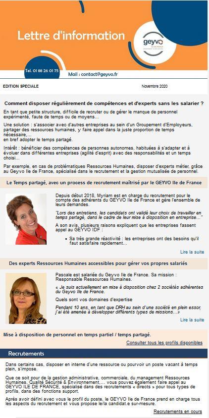 Lettre d'Actus GEYVO Ile de France Novembre 2020