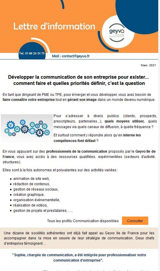 Lettres d'actualités Geyvo Ile de France, Mars 2021