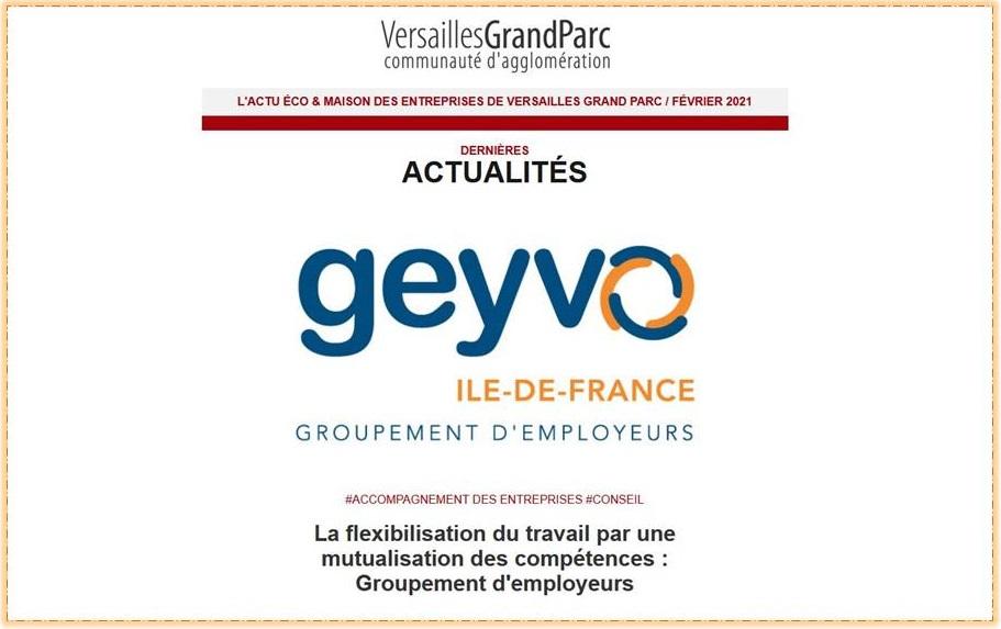 Le Geyvo Ile de France, article en une de la Lettre de Versailles Grand Parc