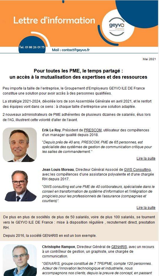 Lettre d'Actualités Geyvo Ile de France - Mai 2021
