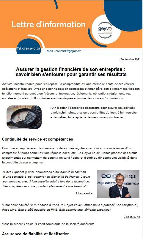 Lettre d'actus Septembre 2021 Geyvo Ile de France